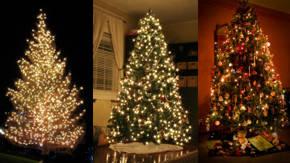 Arbol de navidad con luces diferentes tipos