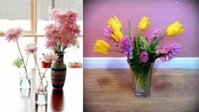 bucaros con flores los jarrones