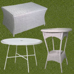 Mesas de mimbre blanco para jardin elegantes y decorativas - Mesas de mimbre ...