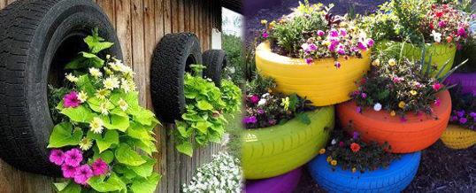neumáticos viejos en el jardín